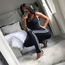 jumpsuits suits Canada - Sport Suit Women Fitness Set Gym Sport Jumpsuits Solid Slim Sexy Stretchy Slim Gym Running Sets Sportswear Sports Tracksuit
