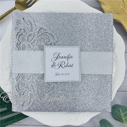 $enCountryForm.capitalKeyWord Australia - Luxury Glitter Silver wedding invitation set with RSVP envelop belly band tri-fold pocket invites wedding decoration supply free ship