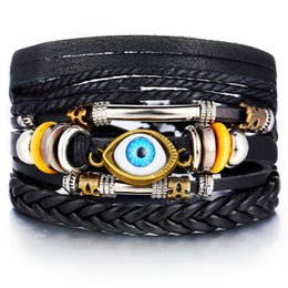 Wholesale IF ME Bohemian Turkish Eyes Beaded Leather Bracelets Set for Men Women Vintage Weave Braided Pulseras Fashoin Jewelry NEW