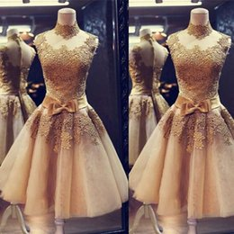 One piece dresses knee length cOcktail online shopping - Gold Lace Cocktail Party Dresses Sexy Sheer Lace Short Homecoming Dress A Line High Neck Graduation Prom Gowns