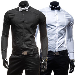 mens black shirt white collar NZ - Black White Social Shirt Men Long SLeeve Tuxedo Shirt Male Slim Business Turn Down Collar Mens Dress Shirts