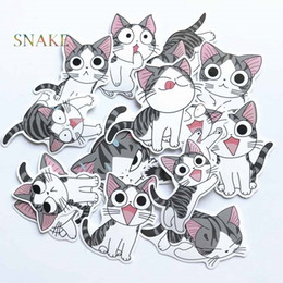 Toy Suitcases NZ - 14pcs Cheese cat Car Sticker PVC Cute Kitty suitcase skateboard laptop stickers motorcycle DIY Home Decor Decal kids toy decals