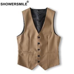 Slim Fit Sleeveless Jacket Australia - Showersmile Brand Khaki Suit Vest Men Slim Fit Vintage Sleeveless Jacket Male Classic Gilet Suit Autumn Winter Waistcoat Vest J190430