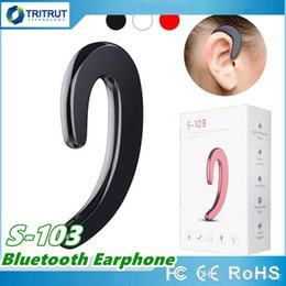 Wholesale Black S Hooks Australia - S 103 Sport Wireless Bluetooth Earphone Stereo Headset Bone Conduction S-103 Bluetooth headphone No earplugs With Mic For smart phone MQ50