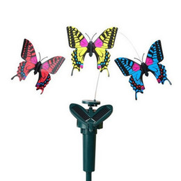 flying butterfly toy wholesale NZ - kids toys 2styles Solar Rotating Flying Simulation Butterfly Fluttering Vibration Hummingbird Flying Garden Yard Decoration Funny Toys JY218