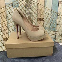 SandalS thick bottomS online shopping - High Heels Sandals Wedding Heels Shoes Bride Women Dress Shoes Heels Red Thick Bottoms Open Toe Sandals Wholsale