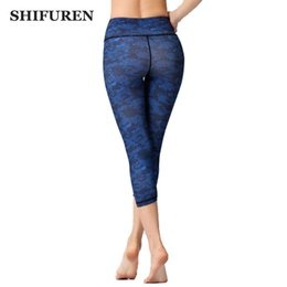Discount cotton compression top - SHIFUREN Women Sports Yoga Capris Leggings 3 4 Length Female Stretch Gym Fitness Running Tights Compression Trousers Act