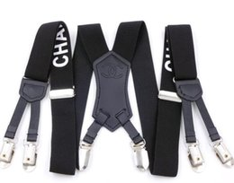Wholesale Factory Direct Men's and women Suspenders Six Clip 3.0 Printing Strap 3.0 * 115cm Six Clip Character Webbing Six Clip Wide Strap F29