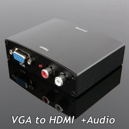 Wholesale Metal Box Converts Analog VGA to HDMI with Audio LR VGA2HDMI Signals Composite for HDTVs monitors and projectors