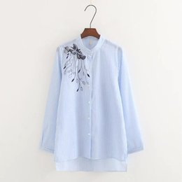 6f3bfe353f8 Nice Fashion Women Retro Embroidery Striped Shirt Long Sleeve Loose Blouse  Casual Tops Chemise Femme Blusas S2806