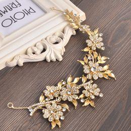 Bridal Hair Accessories Gold Australia - Bridesmaid Gold Color Hair Accessories Rhinestone Bridal Headpiece Wedding Crystal Flower Leaf Hair Jewelry
