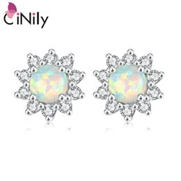 $enCountryForm.capitalKeyWord Australia - Cinily White Blue Pink Green Fire Opal Round Stone Stud Earrings Silver Plated Daisy Sunflower Blossom Flora Summer Jewelry Girl T190625