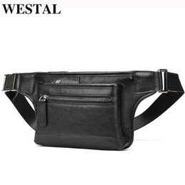 men leather waist hip bag UK - WESTAL men's waist bag genuine leather male fanny pack for men hip bag belt men casual wait packs men's bags leather 7285