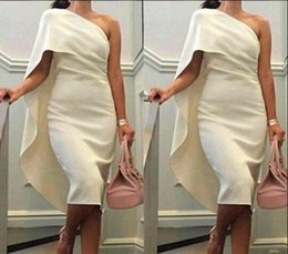 white velvet tea length dress Australia - Short Cocktail Dresses One Shoulder Sheath Prom Dresses With Cape Tea Length Party Dress Plus Size Formal Homecoming Gowns
