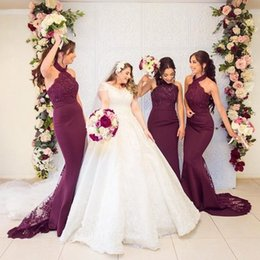 Halter HigH neck satin dress online shopping - Sexy Grape Mermiad Bridesmaid Dresses Cheap Long High Neck Wedding Guest Gown Black Girl Prom Evening Party Gown BM0906