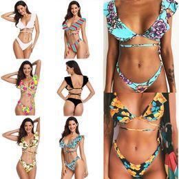 f486b3fcd9af75 Women s bikini swimwear 2019 New Summer Sexy Printed Swimwear Girls Female  Split Two Pieces Swimsuit 13 styles