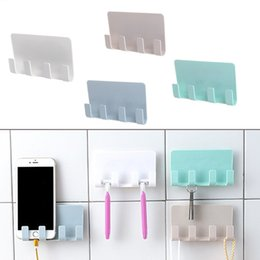 $enCountryForm.capitalKeyWord NZ - wholesale Wall Mounted Stand Toothbrush Hook Bracket 4 Hooks Bathroom Hanging Cellphone Tablet Charging Plastic Phone Wall