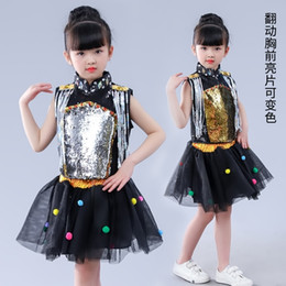$enCountryForm.capitalKeyWord Australia - Children Sequins Jazz Dance Latin Waltz Modern Costume For Girls Outfit Sparkly Dancing Dress Stage Show Dresses Jazz Costumes