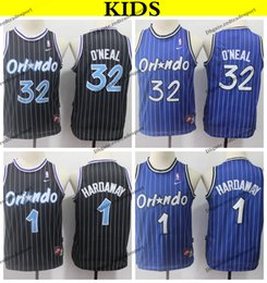 8f30d6777 2019 Kids Orlando 32 Magics Shaquille O Neal Penny Hardaway Basketball  Jerseys Youth Penny Hardaway Vintage Black Stitched Shirts S-XL