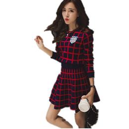 3a9d3332b16d8 Knitted Long -Sleeve Tracksuit Skirt Suits Women Runway Sweet Beads Collar  Sweater Crop Top A -Line Skirt Two Piece Set Female