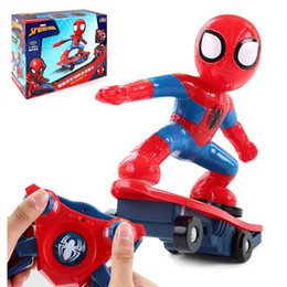 Wholesale Never Fall Down RC Skateboard Spiderman Scooter Genuine Light Sound Toys Flash Cool Electronic Electric Toy For Kids toys Gift Party