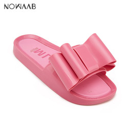 flat sandals for women pink Canada - Melissa Bow Beach Shoes 2019 Women Flat Sandals Brand Melissa Women Jelly Shoes For Women Jelly Sandals Female Jelly Shoes CX200613