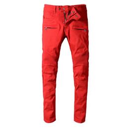 $enCountryForm.capitalKeyWord NZ - High Street Fashion Men Robin Jeans Red Color Spliced Designer Punk Style Denim Cargo Pants Hombre Big Size 29-42 Biker Jeans Men
