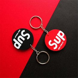 high quality backpack brands Australia - Sup Red Black Keychain Double-Sided Tide Brand Keychain PVC Soft Pendant High-Quality Backpack Key Pendant 022