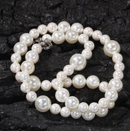 pearl beads necklaces wholesale Canada - Simple 6mm8mm10mm Pearl Beads Necklace Mixed Size Beaded Charm Pearl Designer Necklaces Clavicle Chain For Women Jewelry Accessory