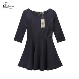 6aa7396f03af8 Nouvellement mode femmes élégantes dames robe 3 style trois-quarts manches  o-cou solide une ligne haute taille au genou robe
