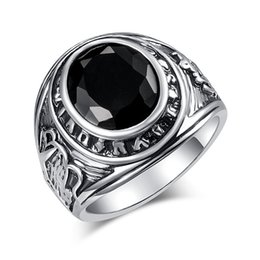 Wholesale 2019 Big Vintage Silver Black Stone Ring for Women Man Fashion Jewelry Valentine s Day Gift Rings