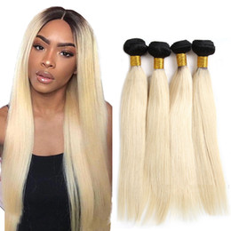 Blond human hair online shopping - 1B Ombre Straight human hair Weave Peruvian Blond Straight Virgin Hair Bundles Ombre Straight Human hair Extension