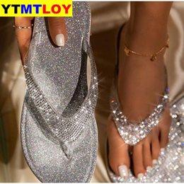 gold flat shoes bling Canada - Women Flip Flop Slippers Slides Bling Rhinestone Ladies Shoes Casual Summer Flat Female Crystal Glitter Woman Plus Size 2020