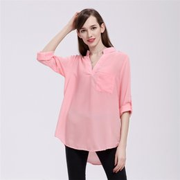 ad2ce4a063 women clothes Women's Loose Chiffon Blouses Casual Pockets T Shirt V-Neck  Long Sleeve Womens Tops And Blouses Plus Size 5XL YFF 6145