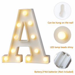 $enCountryForm.capitalKeyWord Australia - Letter White Plastic LED Night Light Marquee Sign Alphabet Lights Household Lamp Club Outdoor Indoor Wall Decor Valentine's Day Gift
