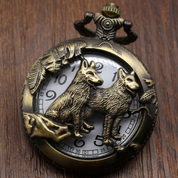 Discount woman ceramic band - band Pocket Relogio De Bolso Bronze Wolf Dog Hollow Quartz Pocket Watch Necklace Pendant Women Men's Gifts P911C