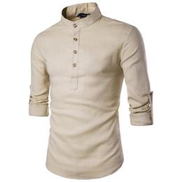 Kaki Coton Chemise En Lin Hommes 2019 Automne Nouveauté Manche retroussée Mens Casual Dress Chemises Slim Fit Henley Shirt Homme Chemise Homme en Solde