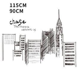 $enCountryForm.capitalKeyWord Australia - Black Retro Large Tall City Buildings Set Wall Stickers PVC DIY Mural Art for Living Room Sofa Decoration Background Decal 3Size
