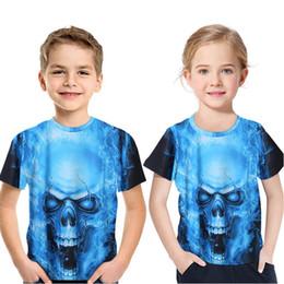 Skull T Shirt Baby Australia - 2019 new Kids Halloween Tshirt blue skulls 3D printing summer fashion baby children clothes boy T-shirt short sleeved girls Tops