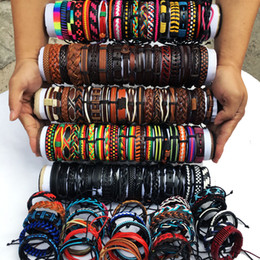 $enCountryForm.capitalKeyWord NZ - Wholesale Lots Random 30Pcs Multi-color Mix Styles Braided Ethinc Tribal Leather Cuff Bracelets For Men Women Jewelry Party Gift MX18