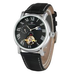 Unique Watches For Men Australia - Business Automatic Mechanical Watches for Male Unique Roman Numerals Dial Wristwatch Classic Skeleton Black Leather Band Watch for Men