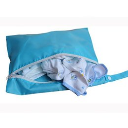cloth bags for diapers NZ - Baby Diaper Bags Double Zippered Wet Dry Bag Reusable Diaper Cover for Portable Hang Travel 5 Colors Oxford Cloth Storage Bags