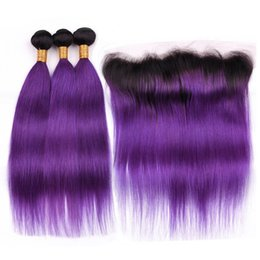 Dark purple ombre weave online shopping - B Purple Dark Roots Ombre Straight Indian Hair Bundles with Frontal Ombre Purple Human Hair Weave Bundles with x4 Lace Frontal Closure