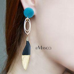 Discount blue gold dangle earrings - drop eManco Wholesale Bohemia Asymmetry Drop Blue Resin With Metal Bar-type Earring &Golden Circle Link Feather Earrings