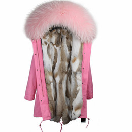 $enCountryForm.capitalKeyWord Australia - 2019New Winter Women Coat Jacket Long Slim Parkas With Large Raccoon Fur Collar Hooded And Real Rex Rabbit Fur Liner Brand Style Y190912