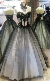 Sexy Black Gothic Corset Dress Australia - Real Photo Gothic Wedding Dresses 2019 Sexy Black And White Tulle Applique Lace Corset Back Sweep Train Pleated Wedding Gowns Cheap