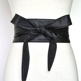 $enCountryForm.capitalKeyWord NZ - Fashion Pu Leather Obi Corset Belts for Ladies Black Yellow Red Wide High Waistband Bowknot Women Dress Waist Belt Cummerbunds