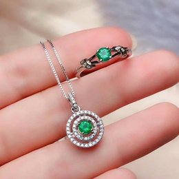 natural emerald pendants 2019 - SHILOVEM 925 sterling silver Natural Emerald rings pendants send necklace fine Jewelry party women 4*4mm ctz0404888agml
