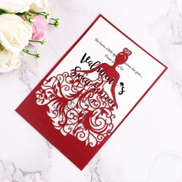 Wholesale New Arrival Free DHL Shipping Lase Cut Crown Princess Invitations Cards For Business Birthday Sweet Quinceanera Sweet th Invite RED
