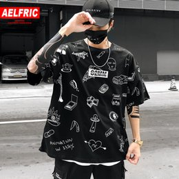 $enCountryForm.capitalKeyWord Australia - AELFRIC Graffiti Printed T Shirts 2019 Summer Men Short Sleeve Tops Tees Streetwear Hip Hop Male Harajuku Casual Cotton T Shirts